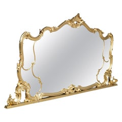 19th Century Great Venice Baroque Wall Mirror, Hand Carved Walnut Gold Leaf