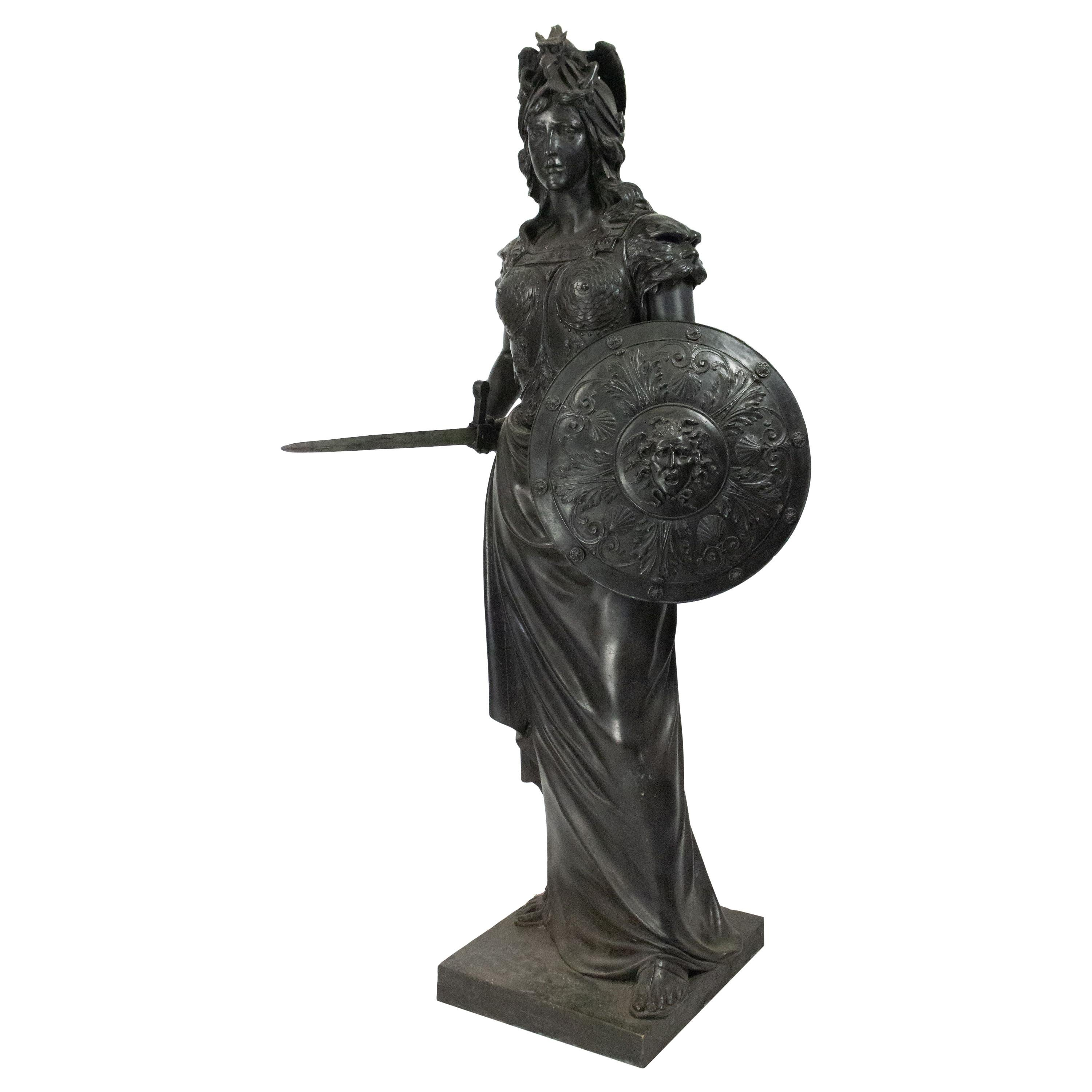 19th Century Grecian Style Bronze Life-sized Figure of Classical Woman