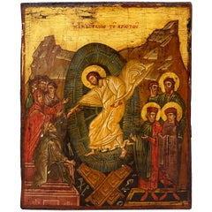 19th Century Greek Icon of Jesus with Gold Leaf