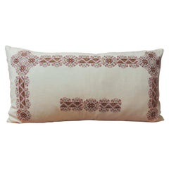 19th Century Greek Isle Red and White Decorative Bolster Pillow