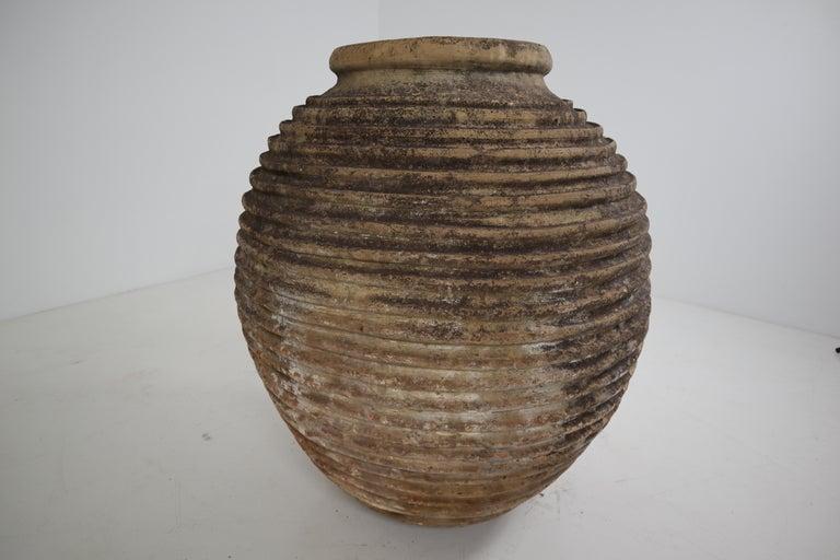 Terracotta 19th Century Greek 'King-Size' Ribbed Olive Jar with Dark Lichen Patination
