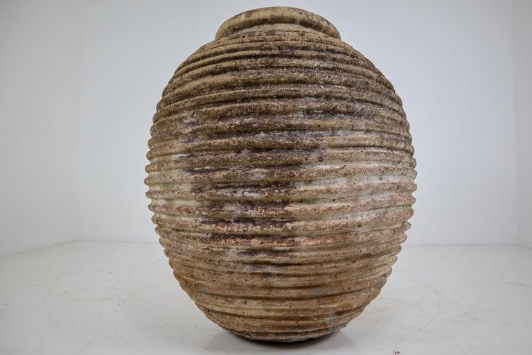 19th Century Greek 'King-Size' Ribbed Olive Jar with Dark Lichen Patination 1