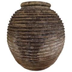 19th Century Greek 'King-Size' Ribbed Olive Jar with Dark Lichen Patination