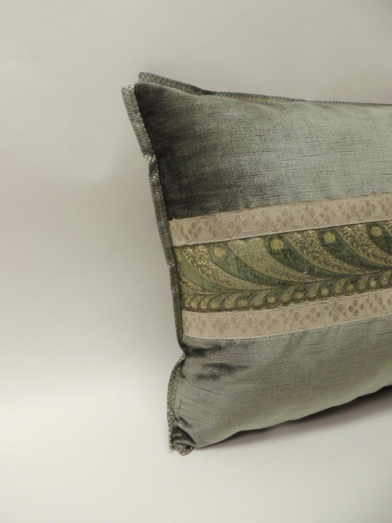 Regency 19th Century Green and Silver Antique Velvet Ribbon Decorative Bolster Pillow For Sale