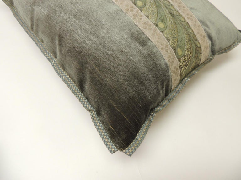 French 19th Century Green and Silver Antique Velvet Ribbon Decorative Bolster Pillow For Sale