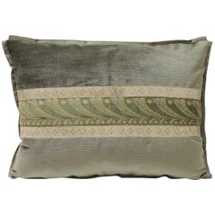 19th Century Green and Silver Antique Velvet Ribbon Decorative Bolster Pillow