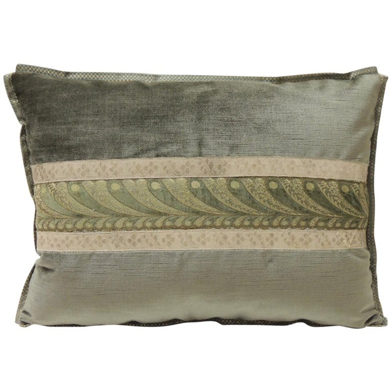 19th Century Green and Silver Antique Velvet Ribbon Decorative Bolster Pillow For Sale