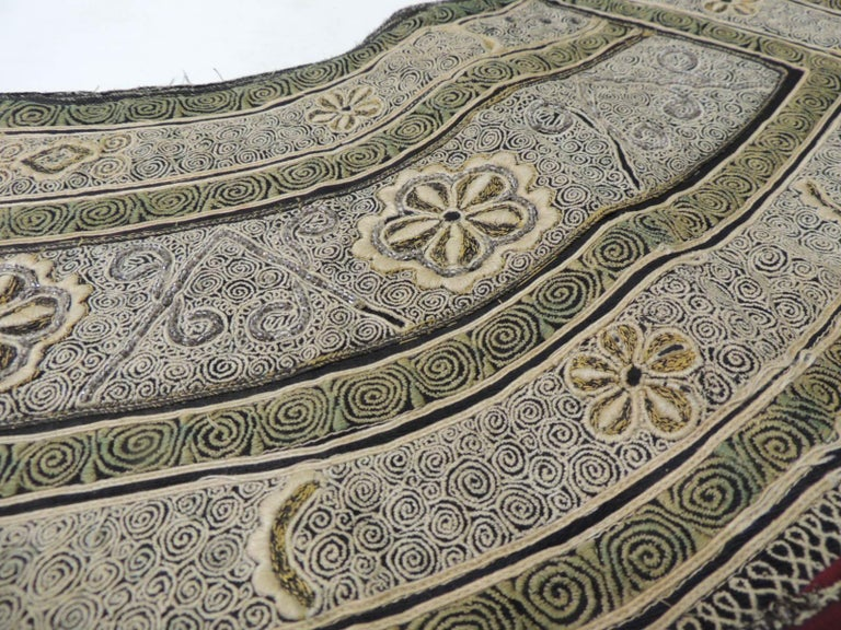 Moorish 19th century Green and Yellow Heavy Embroidered Asian Collar For Sale