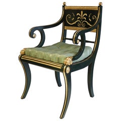 19th Century Green Armchair Signed by Cohen of London, 1808-1828