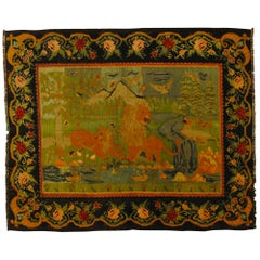 19th Century Green, Black, Animals and Lions Kilim Karabagh Rug, circa 1940s