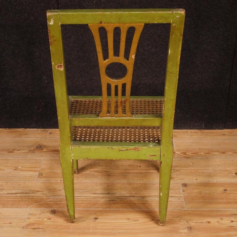 19th Century Green Lacquered Painted Giltwood Italian 6 Chairs, 1880 For Sale 6