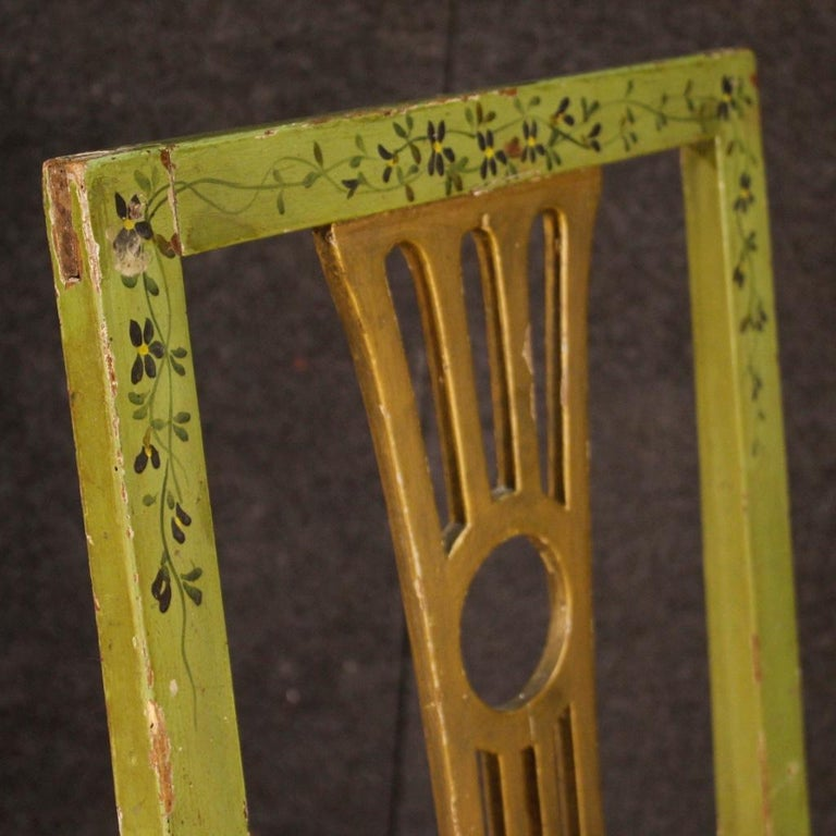 19th Century Green Lacquered Painted Giltwood Italian 6 Chairs, 1880 For Sale 7