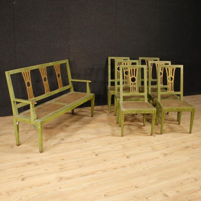 19th Century Green Lacquered Painted Giltwood Italian 6 Chairs, 1880 In Fair Condition For Sale In Vicoforte, Piedmont