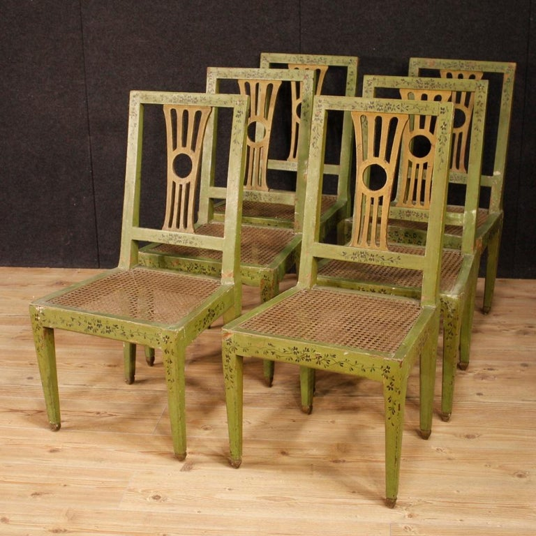 Cane 19th Century Green Lacquered Painted Giltwood Italian 6 Chairs, 1880 For Sale