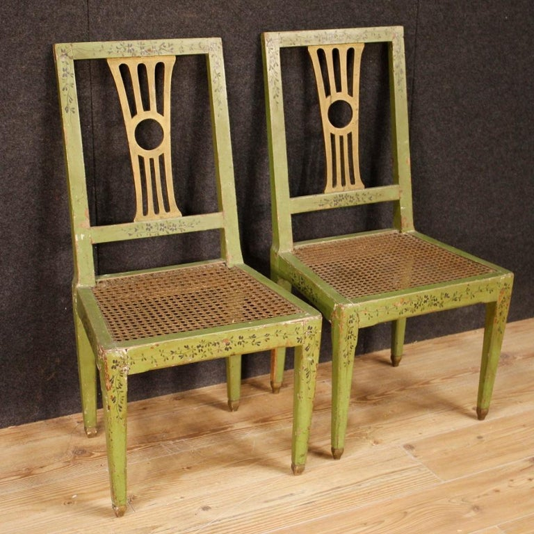 19th Century Green Lacquered Painted Giltwood Italian 6 Chairs, 1880 For Sale 1