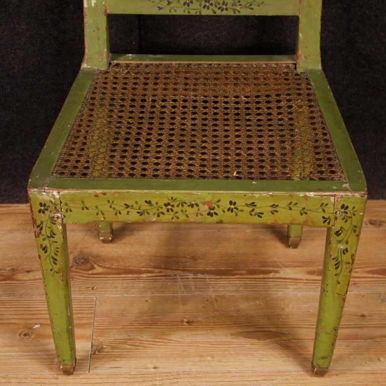 19th Century Green Lacquered Painted Giltwood Italian 6 Chairs, 1880 For Sale 3