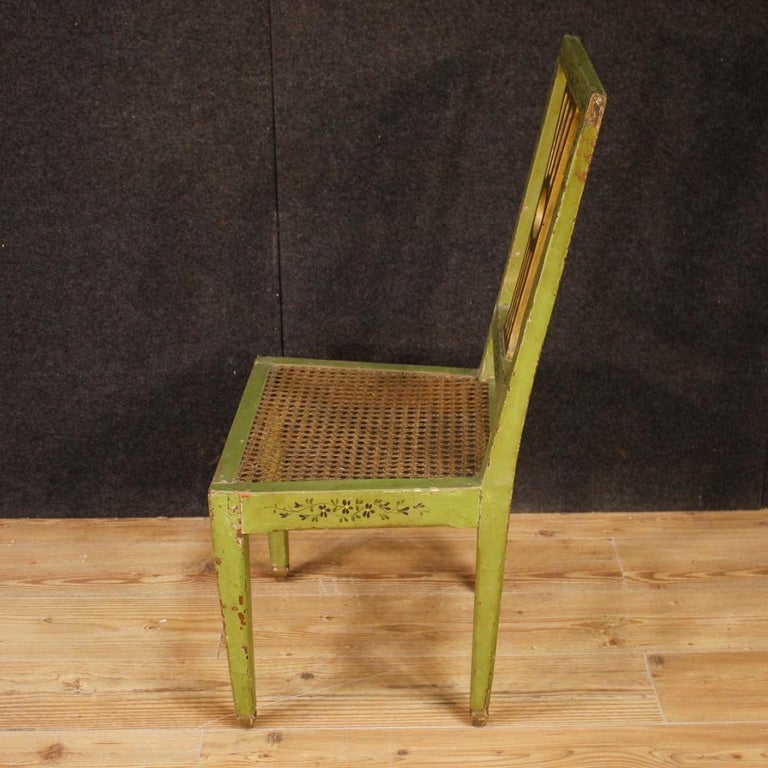 19th Century Green Lacquered Painted Giltwood Italian 6 Chairs, 1880 For Sale 4