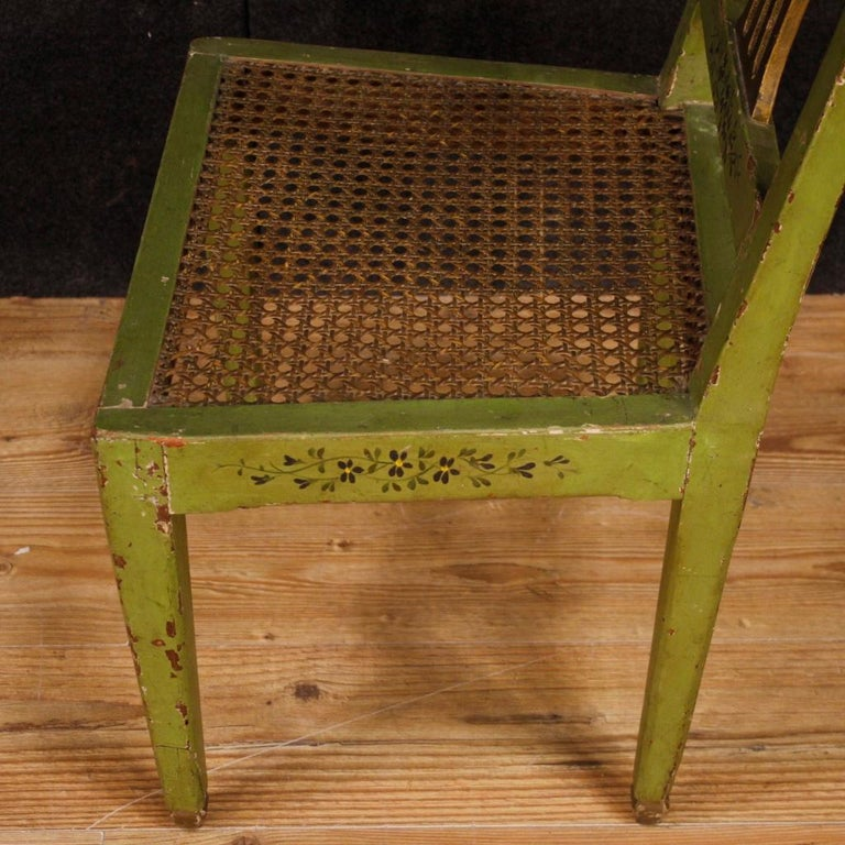 19th Century Green Lacquered Painted Giltwood Italian 6 Chairs, 1880 For Sale 5