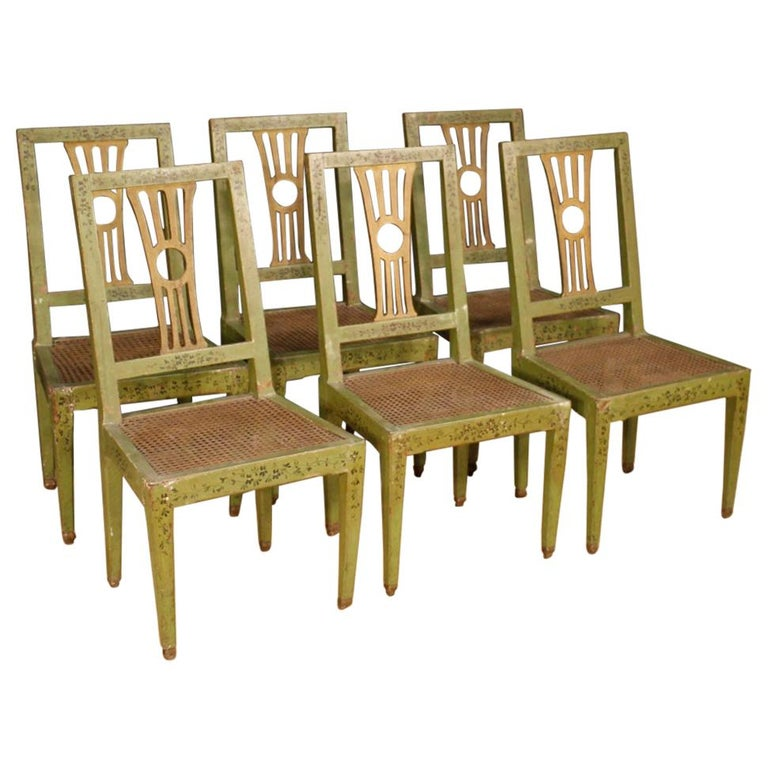 19th Century Green Lacquered Painted Giltwood Italian 6 Chairs, 1880 For Sale