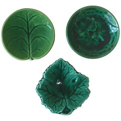 19th Century Green Majolica Leaf Butter Pat