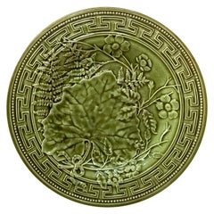 19th Century Green Majolica Leaves Flowers Plate Choisy le Roi