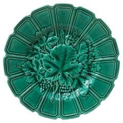 19th Century Green Majolica Leaves Plate Sarreguemines