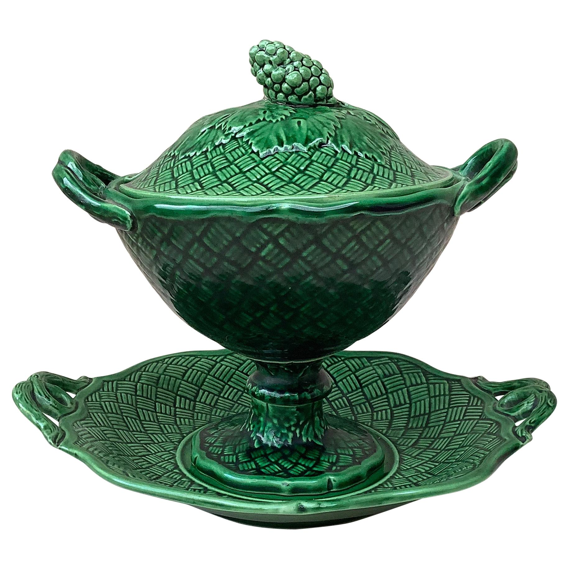 19th Century Green Majolica Tureen with Stand Bordeaux