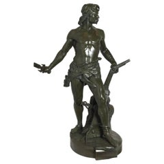 19th Century Green Patinated Bronze Male Sculpture Marked Tiffany
