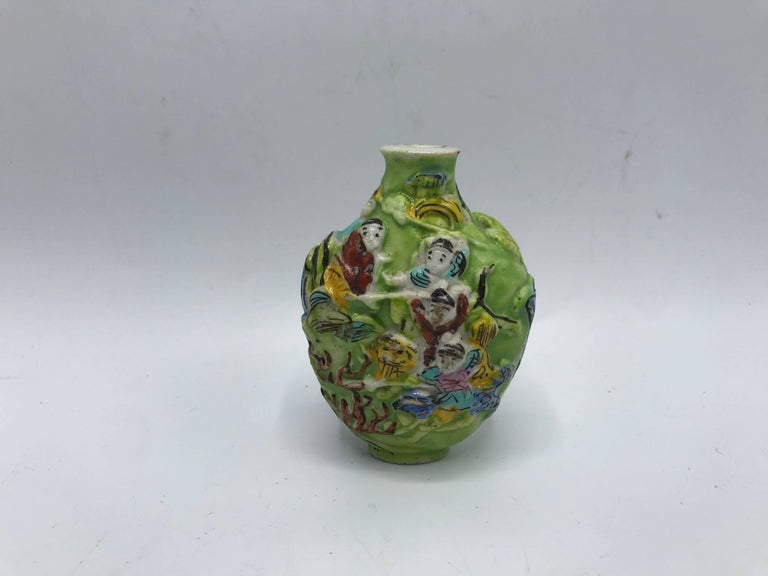 Hand-Painted 19th Century Green Polychrome Sculptural Snuff Bottle For Sale