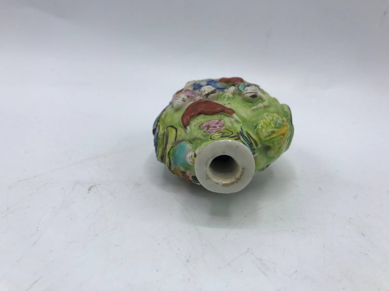 Pottery 19th Century Green Polychrome Sculptural Snuff Bottle For Sale