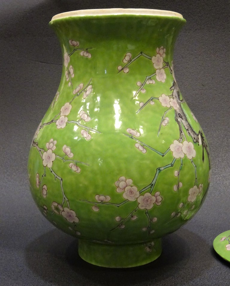 19th Century Green White Pink Chinese Guang-Xu Porcelain Lid Vase For Sale 10