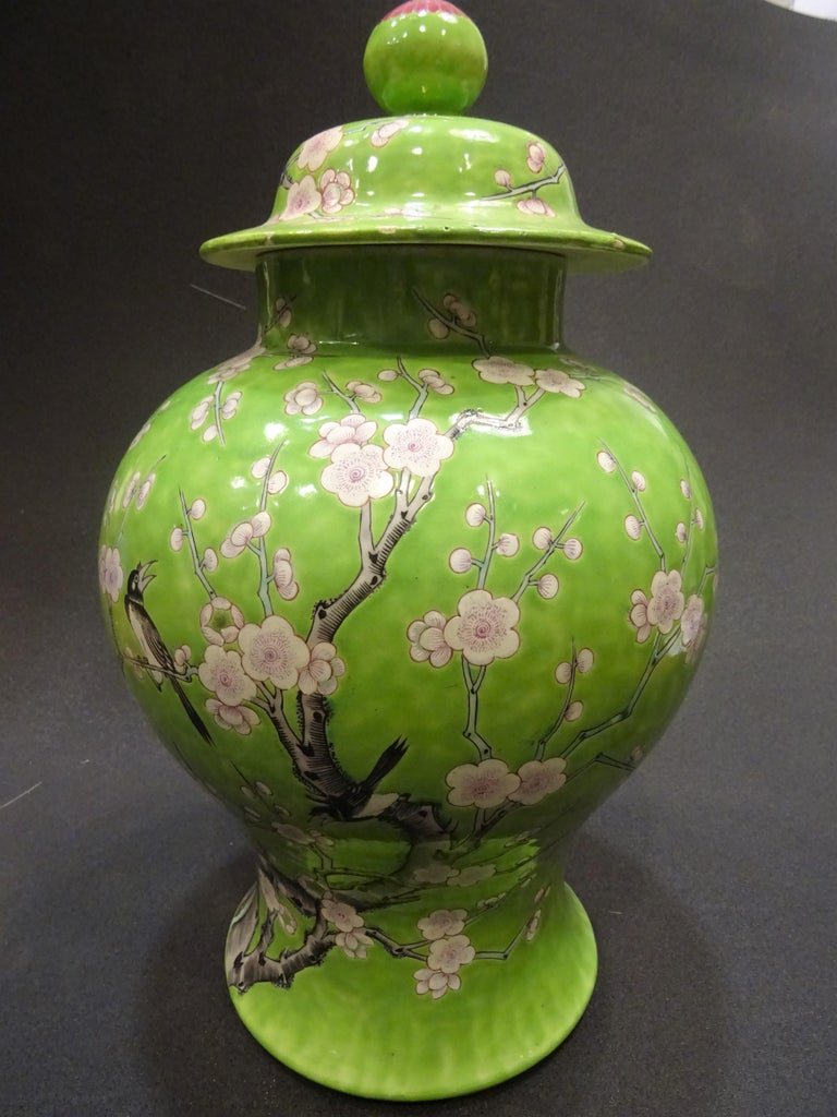 19th Century Green White Pink Chinese Guang-Xu Porcelain Lid Vase For Sale 11