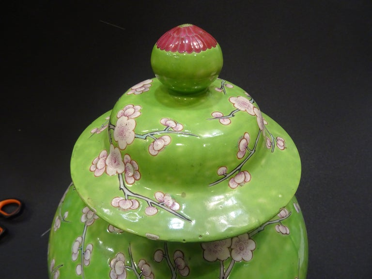 Chinese Export 19th Century Green White Pink Chinese Guang-Xu Porcelain Lid Vase For Sale