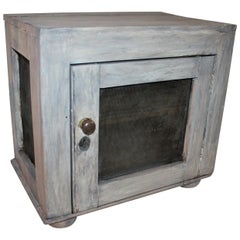 19th Century Grey Painted Table Top Pie Safe