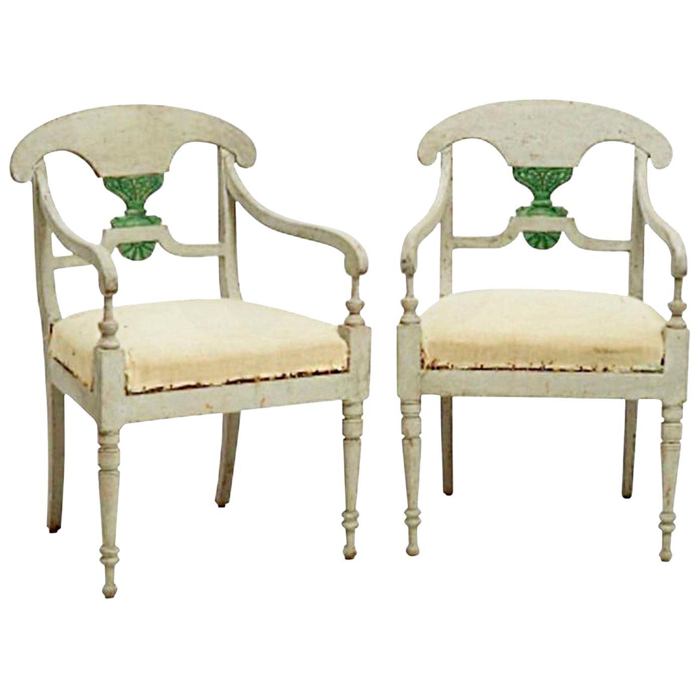 19th Century Grey Pair of Swedish Gustavian Armchairs, Pinewood Side Chairs