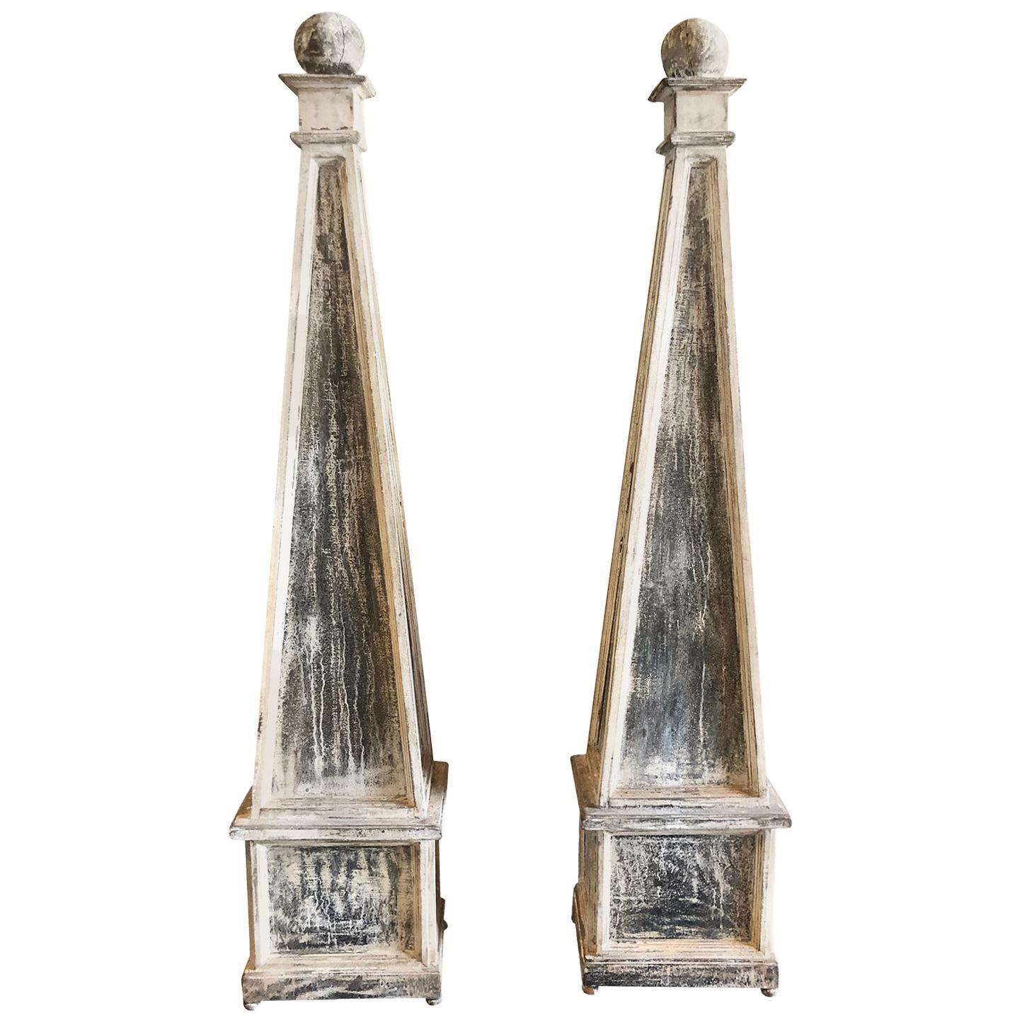 19th Century Grey Pair of Swedish Gustavian Obelisks, Antique Pinewood Decor