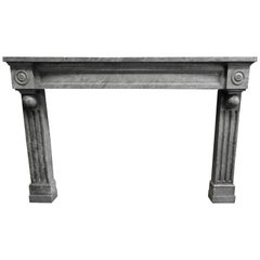 19th Century Grey Solid Marble Fireplace