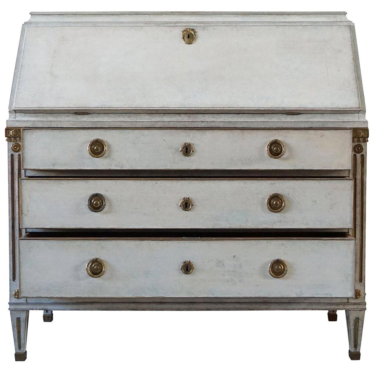 19th Century Grey Swedish Gustavian Bureau or Writing Desk, Pinewood Secretaire