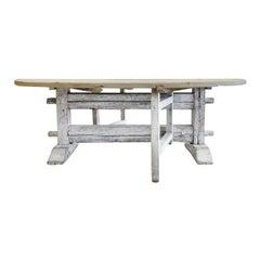 19th Century Grey-White Italian Folding Table, Round Pinewood Farm Dining Table