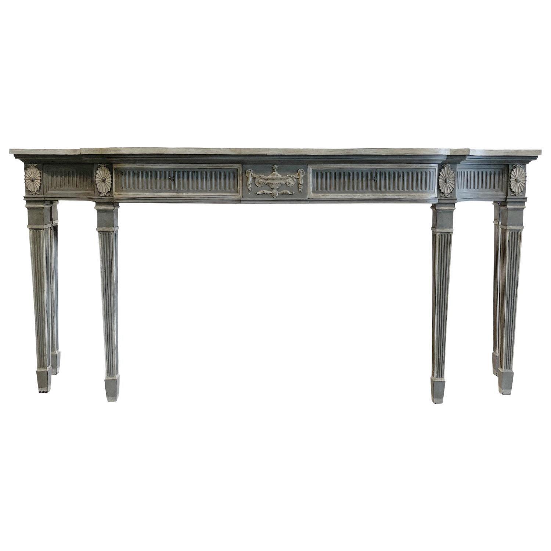 19th Century Grey-White Swedish Gustavian, Scandinavian Pinewood Console Table