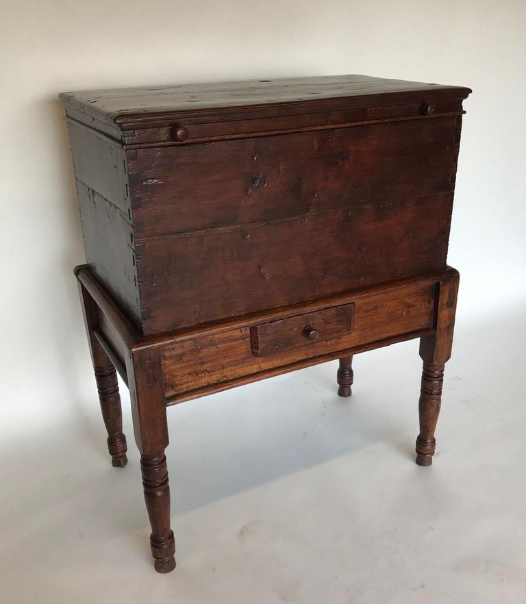 Rustic 19th Century Guatemalan Storage Chest on Base For Sale