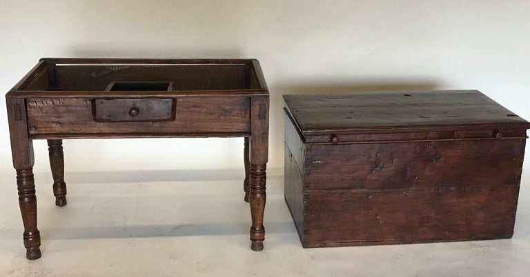 Wood 19th Century Guatemalan Storage Chest on Base For Sale