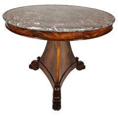 19th Century Gueridon in Mahogany Palm and Marble Top