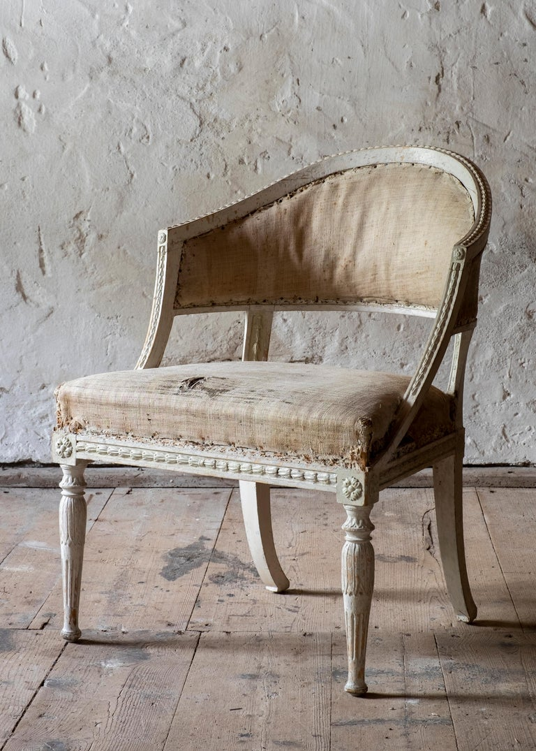 19th Century Gustavian Barrel Back Armchairs In Good Condition For Sale In Helsingborg, SE