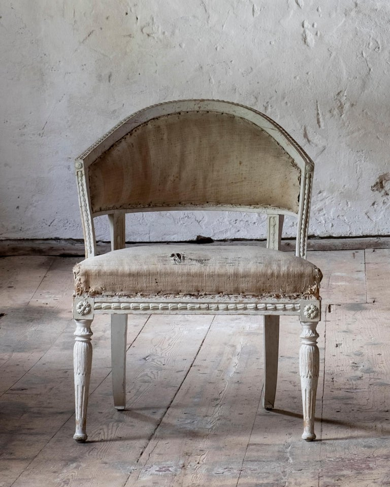 18th Century 19th Century Gustavian Barrel Back Armchairs For Sale