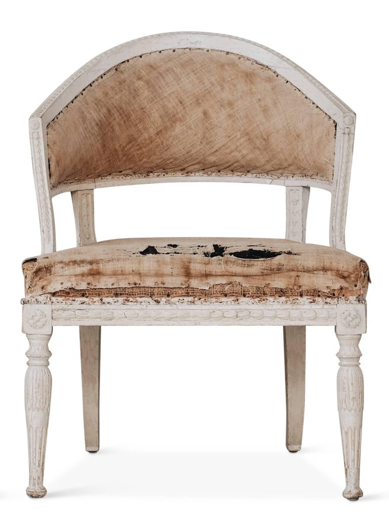 Wood 19th Century Gustavian Barrel Back Armchairs For Sale