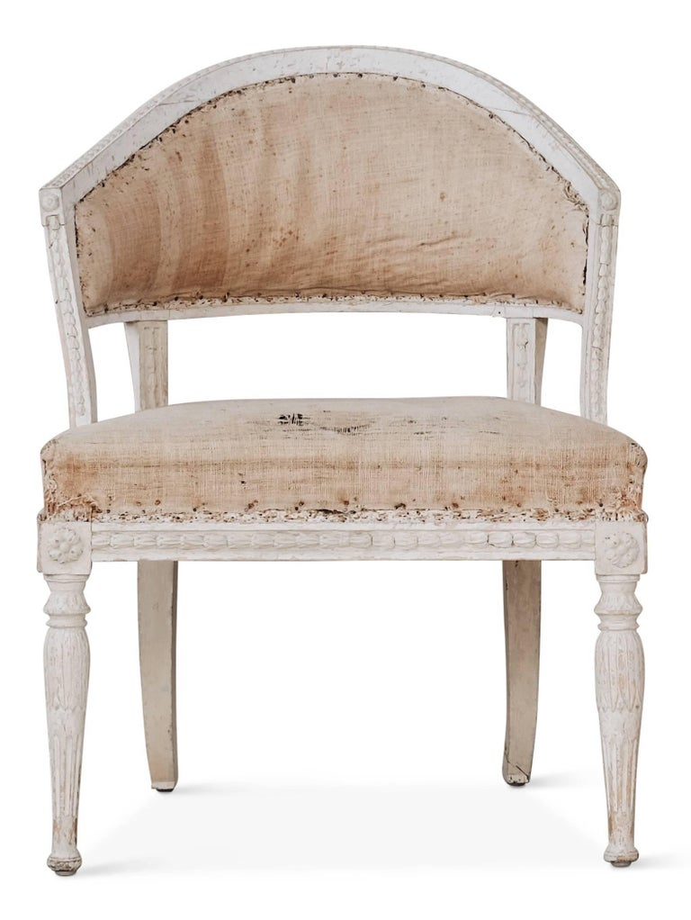 19th Century Gustavian Barrel Back Armchairs For Sale 1