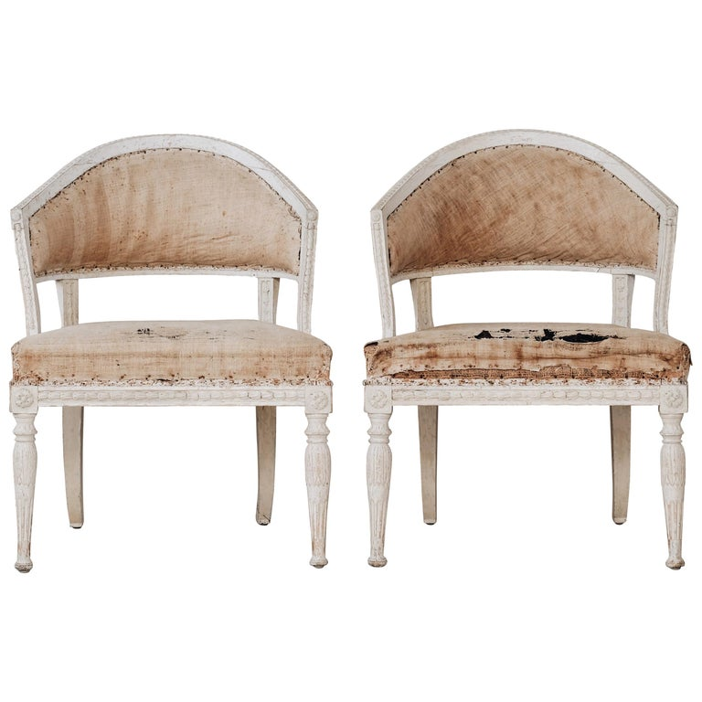 Gustavian barrel-back armchairs, ca. 1800