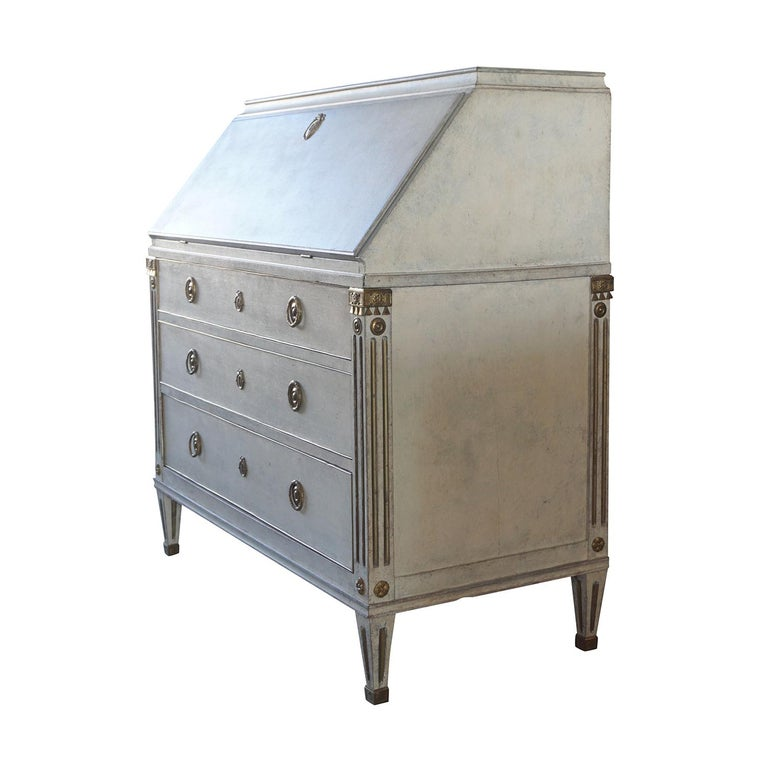 A very important Scandinavian desk made of pinewood with original brass decor inlay. The fold out desk is detailed in the neoclassical Greek style with the original hardware. Wear consistent with age and use, circa 19th century, Sweden,