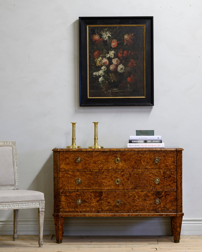 Remarkable early 19th century Gustavian chest of drawers of unusually large size veneered in alder root, circa 1810, Sweden.  Very good condition with wear consistent with age and use. A detailed condition report is available on request.